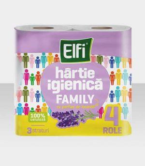 ELFI_family_hartie_igienica_4_role_3_straturi_lavanda